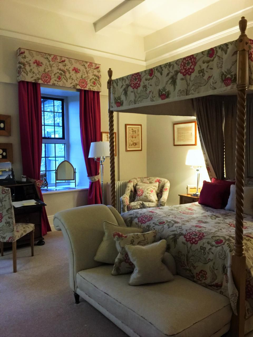Rooms at Llangoed Hall, a luxury hotel, are large and inviting, as one might expect of an Edwardian mansion once owned by Sir Bernard Ashley and his wife,  designer Laura Ashley.
