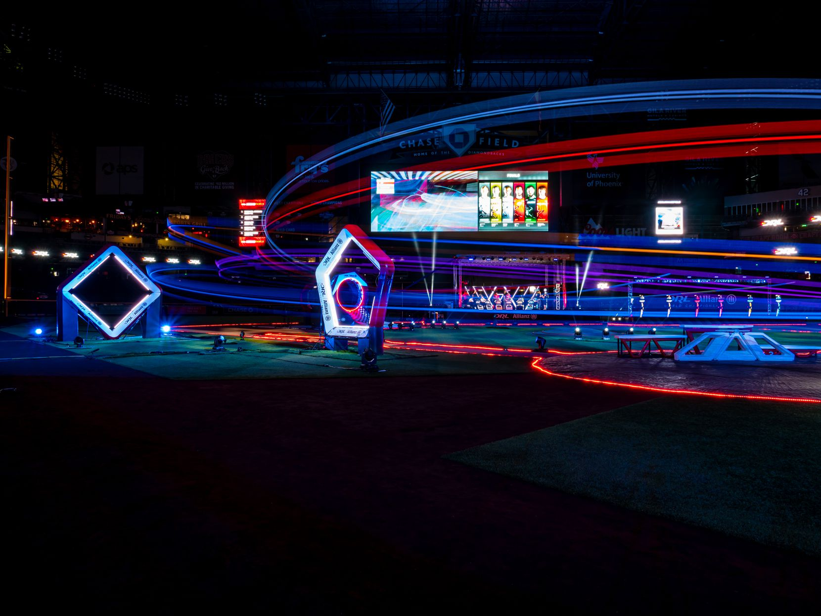 A look at a recent race setup at Chase Field in the Drone Racing League. Pilots will maneuver their drones around obstacles and through gates. (Courtesy/Drone Racing League)