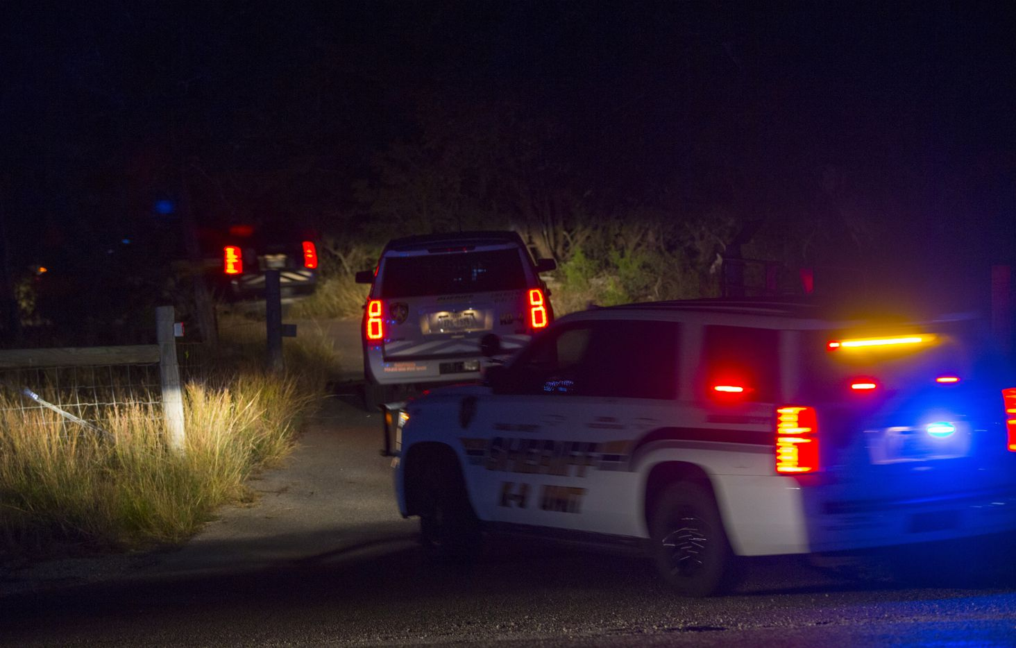 Law enforcement officials enter the property of Devin P. Kelley on November 5, 2017 near New Braunfels, Texas. According to reports, Kelley, 26, entered a church during a service and opened fire, killing 26 people and injuring at least 20.