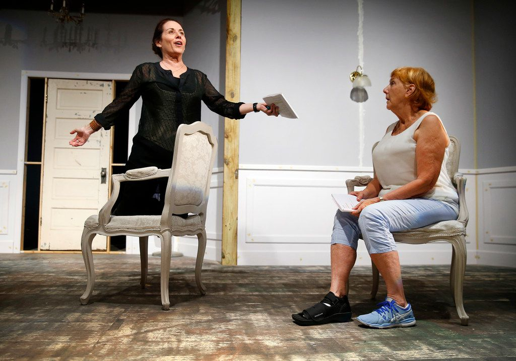 Shannon McGrann, who plays Nora Helmer, rehearses with Judy Keith, who plays Anne Marie, in A Doll's House, Part 2 at Stage West Theatre in Fort Worth.