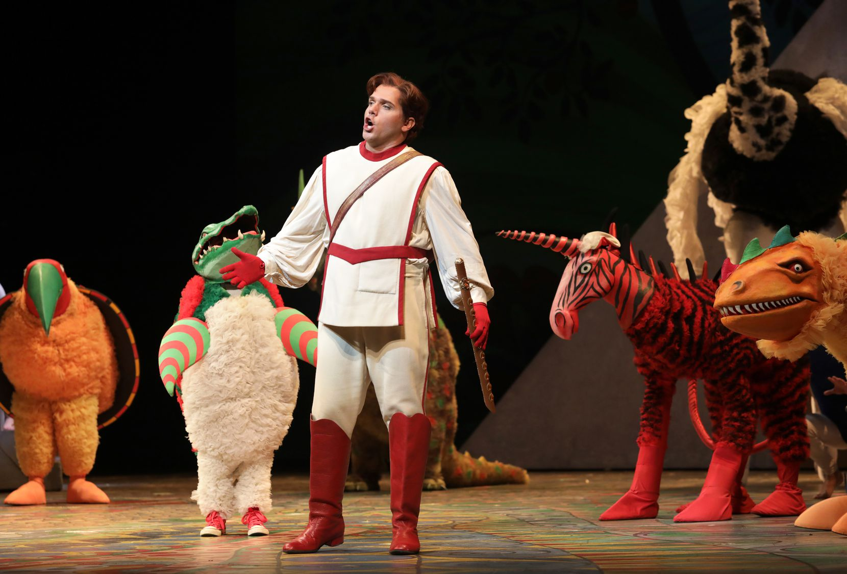 """Tamino, played by Paolo Fanale, performs during a dress rehearsal of Dallas Opera's """"The Magic Flute"""" at Winspear Opera House on Oct. 15, 2019."""