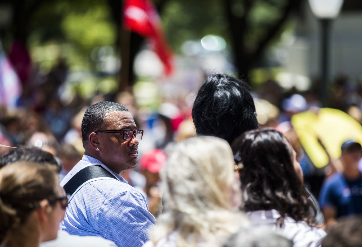 Trenton Johnson, Mr. Black Trans International, listens to speakers during a One Texas Resistance rally on the steps of the capitol on the first day of a legislative special session on Tuesday, July 18, 2017 at the Texas state capitol in Austin, Texas.