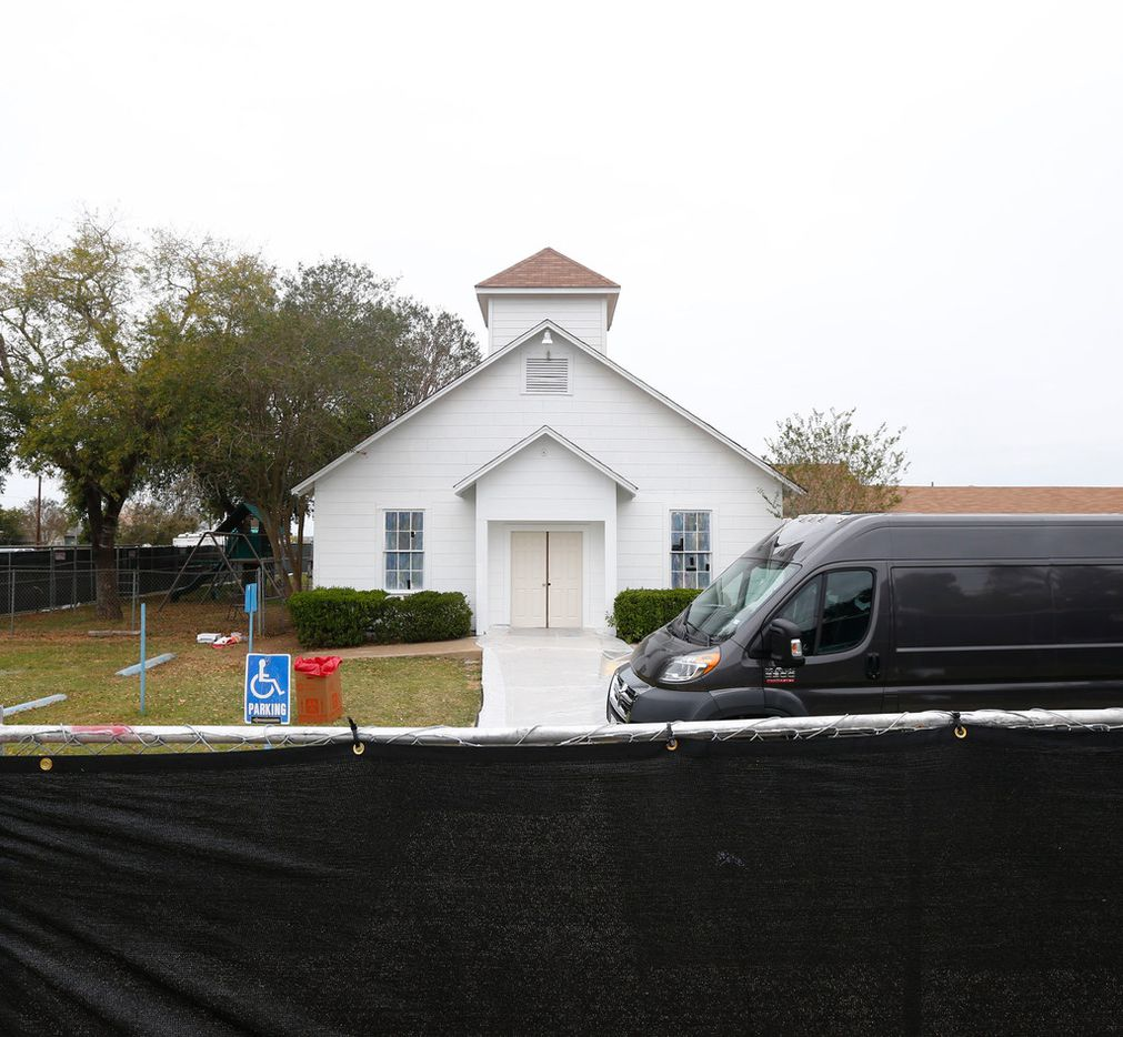 First Baptist Church is surrounded by a black fence in Sutherland Springs, Texas on Nov. 10, 2017. The church was the site of a shooting that killed 26 parishioners and left 30 injured.