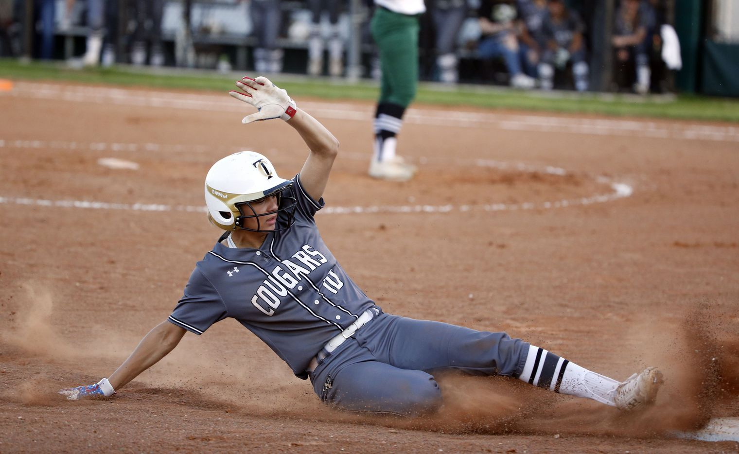 The Colony's Jayda Coleman (10) slides safely into third base against Birdville during game 2 of the Class 5A Bi-District girls softball playoffs on April 26, 2019. (Michael Ainsworth/Special Contributor)
