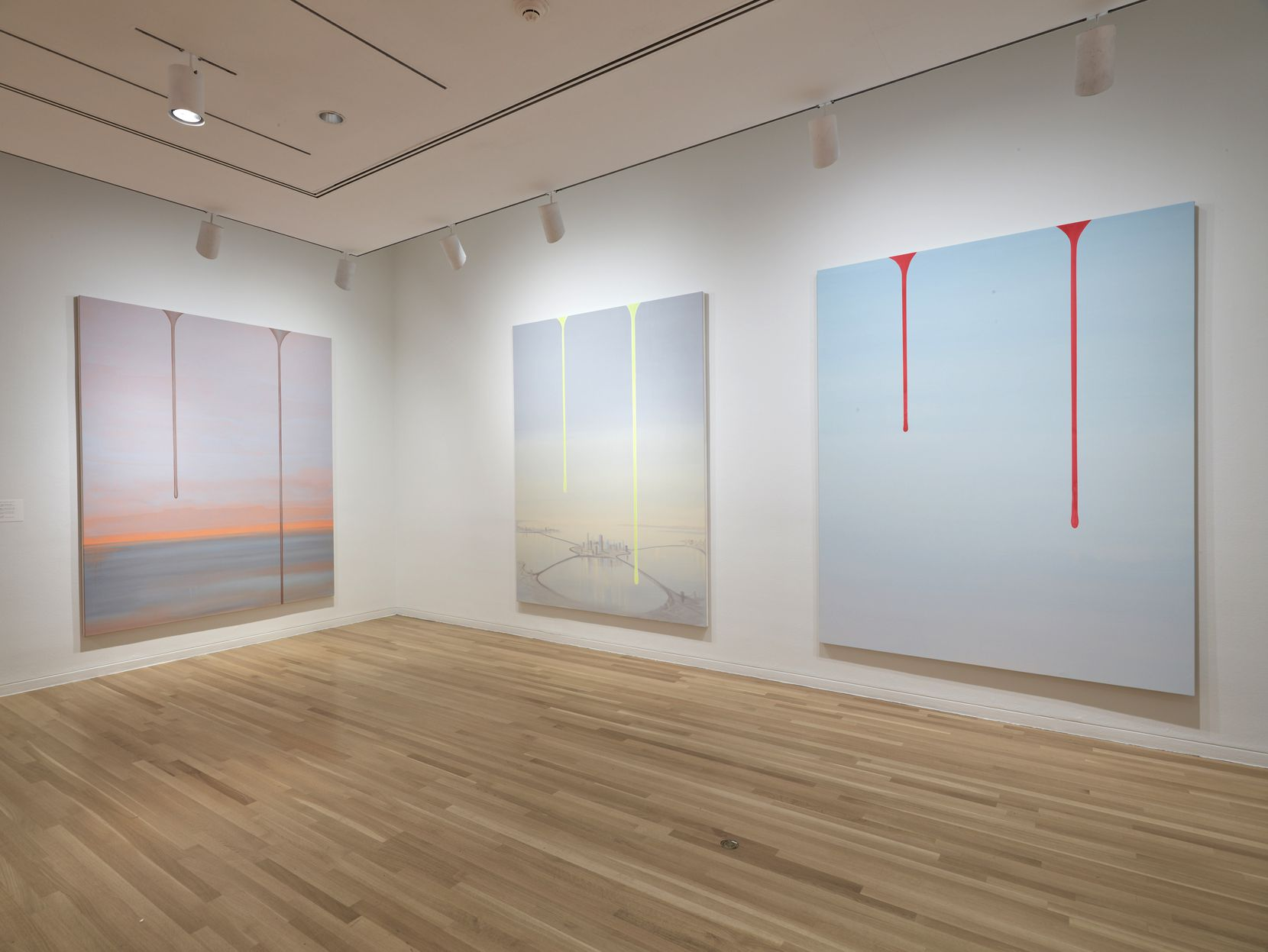 "The paintings in Wanda Koop's ""Dreamline"" series are all variations on the same theme: a landscape rendered in lush, otherworldly colors, with a low horizon visible in the distance through a thick atmosphere."