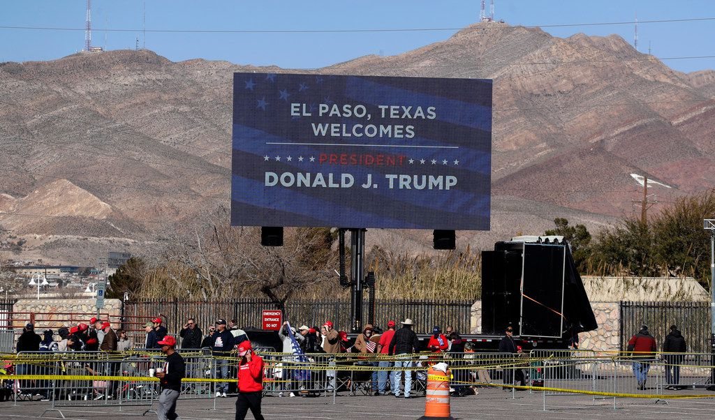 Ticket holders begin lining up outside the El Paso County Coliseum for a President Donald Trump campaign rally, Monday, Feb. 11, 2019, in El Paso, Texas.