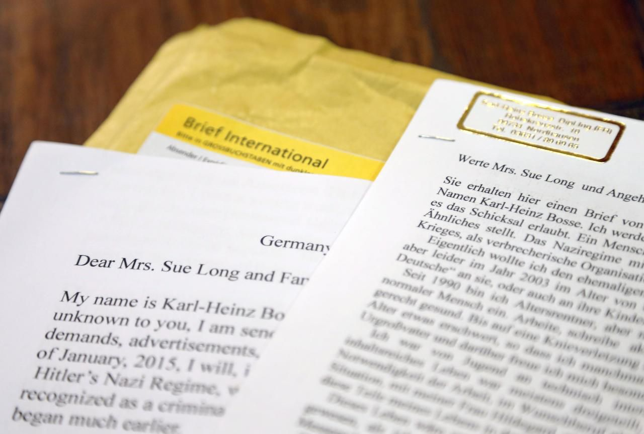 Sue Long, a widow of a World War II pilot, received this letter from a 90-year-old German fighter pilot who was shot down by Long's husband south of Bonn, Germany in 1944.