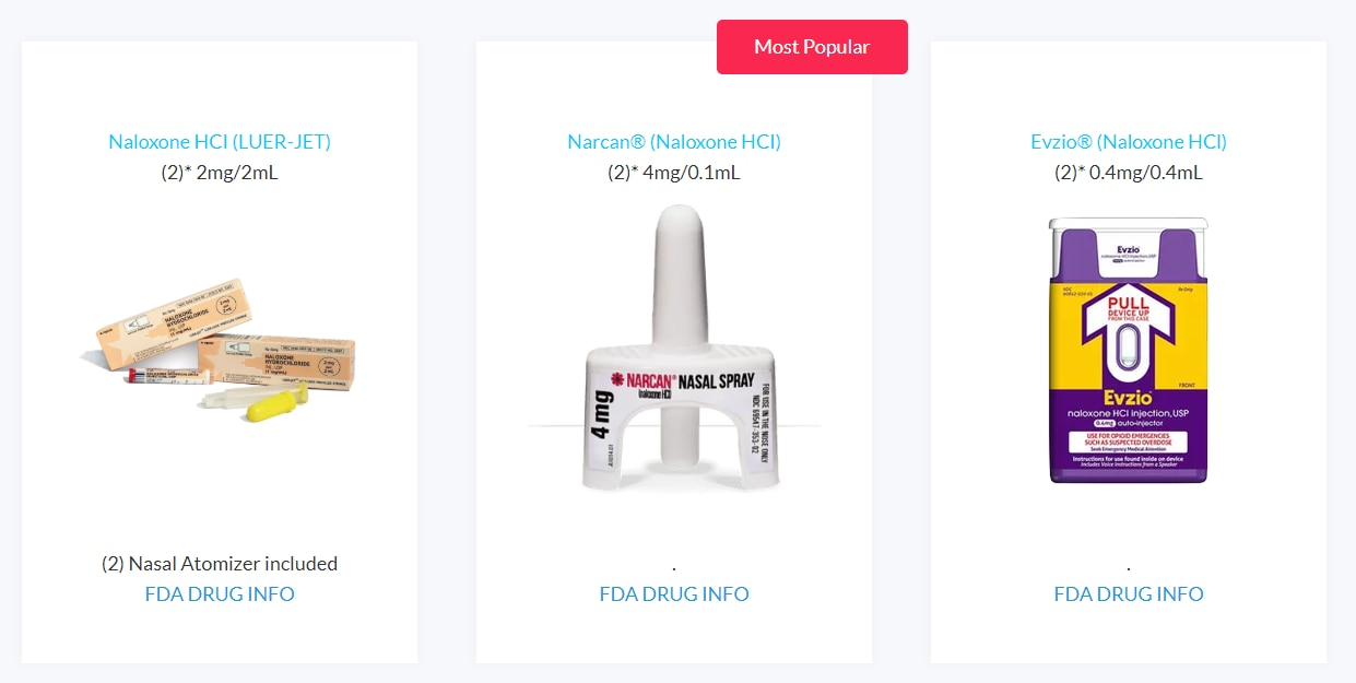 Fiduscript offers three versions of the opioid overdose reversing drug naloxone: a generic version (left), a popular nasal spray (middle) and a pricey auto-injectable with voice commands.