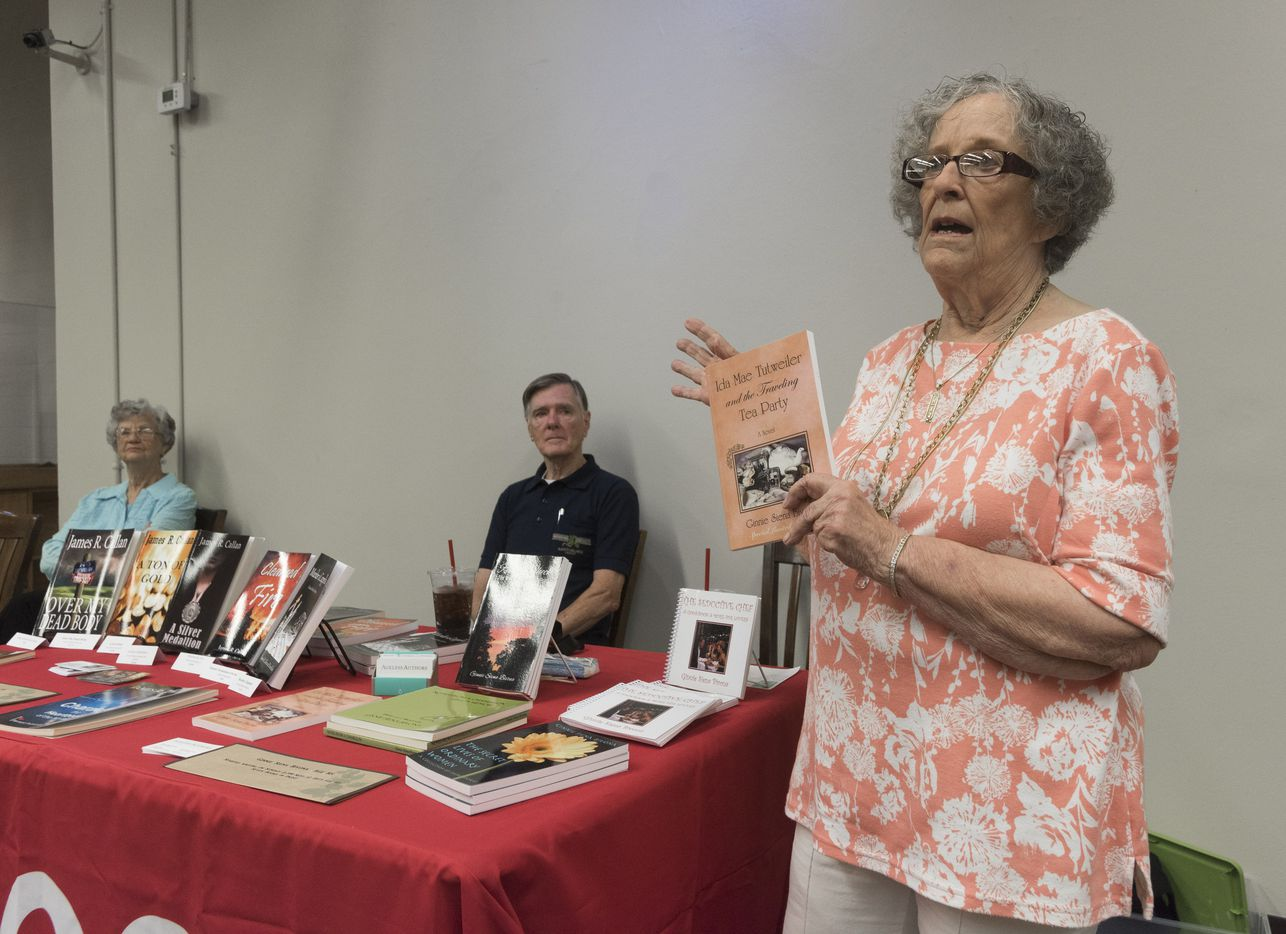 Ginnie Siena Bivona talks about her book that was developed into a tv movie during a book signing event at Half Price Books on Sunday, June 26, 2016.  She and Larry Upshaw have have launched Ageless Authors, a publishing project for people 65 and older.   (Rex C. Curry/Special Contributor)