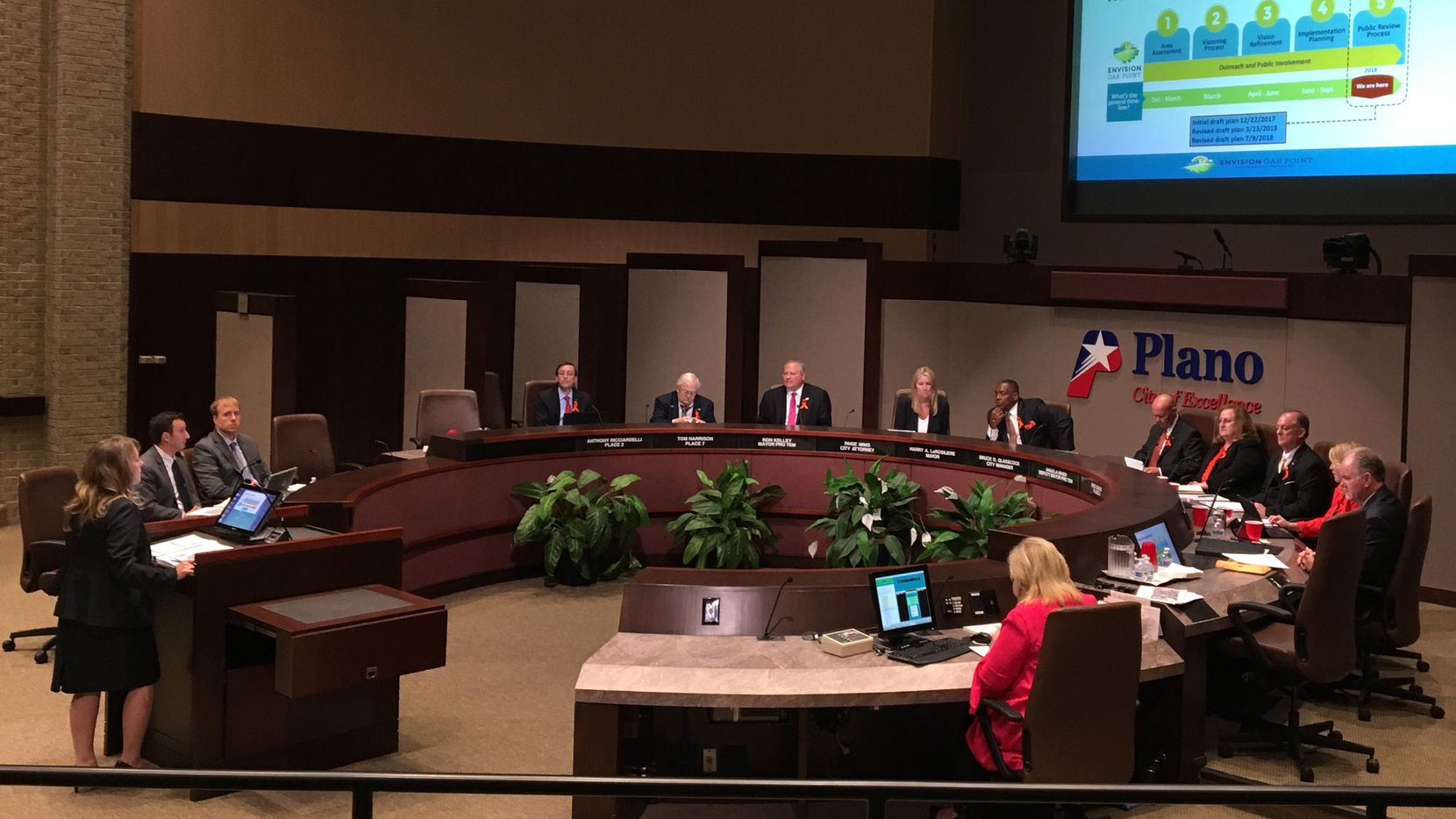 Plano planning director Christina Day, far left, talks to the Plano City Council about the Envision Oak Point plan on Monday, July 23, 2018.