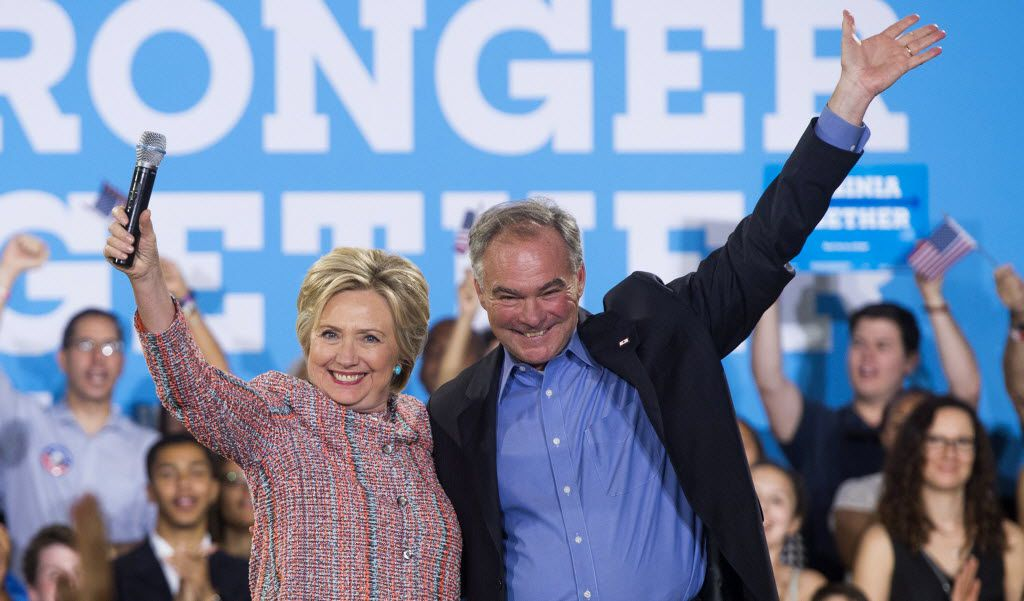 Sen. Tim Kaine, D-Va., campaigned with Hillary Clinton last week and is expected to appear with her Saturday in Florida.