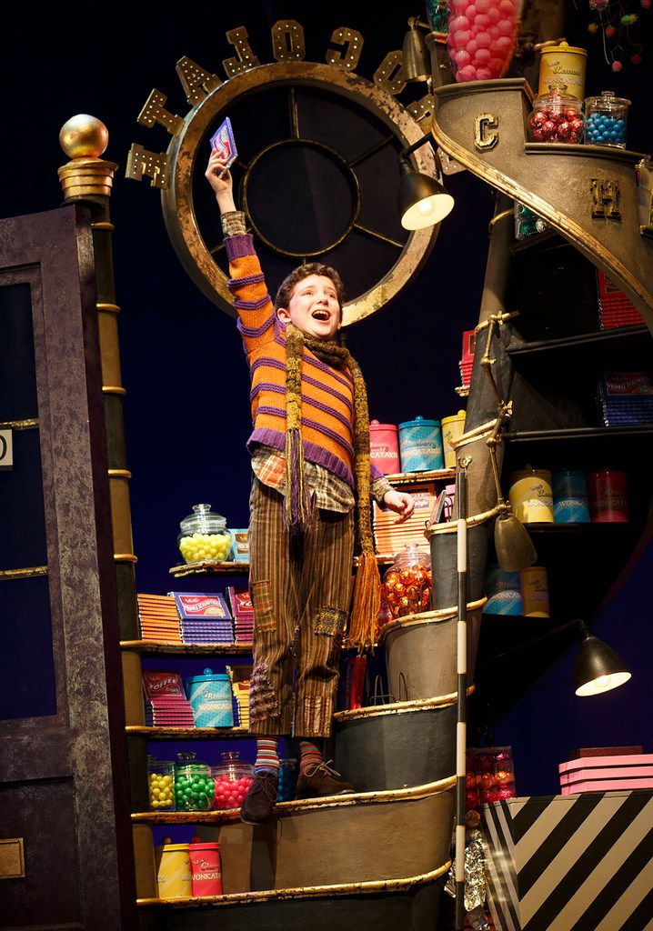 Ryan Sell as as Charlie Bucket in Roald Dahl's Charlie and the Chocolate Factory,  shown in a 2017 production in New York City. Charlie and the Chocolate Factory is part of the AT&T Performing Arts Center's six-show 2018-19 Broadway Series.
