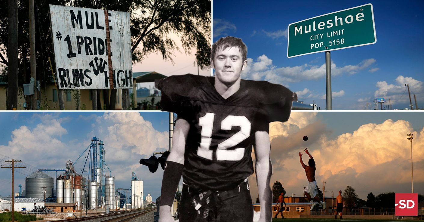 Background photos of Muleshoe, Texas -- Tom Fox/The Dallas Morning News; high school picture of Lincoln Riley courtesy of parents Marilyn, Mike Riley