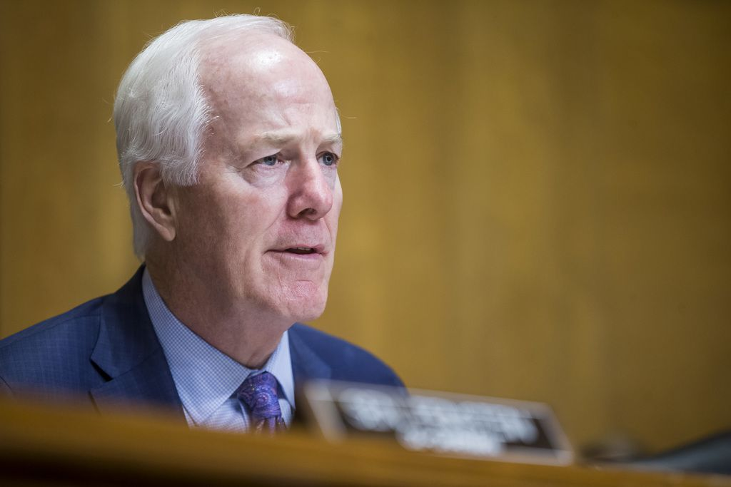 Sen. John Cornyn questions Secretary of State Mike Pompeo during a hearing on narcotics control on June 11, 2019.