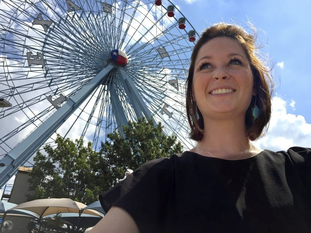Our own Sarah Blaskovich takes a selfie in front of the Texas Star.