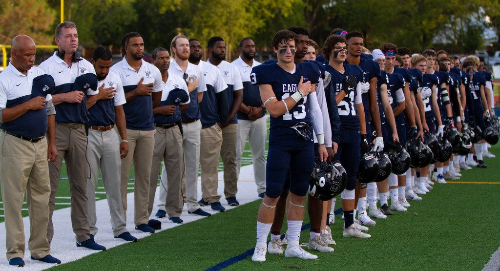 Former Dallas Cowboys quarterback Troy Aikman stands on the sidelines during the Episcopal School of Dallas game against Trinity Christian Academy on Friday, Aug 30, 2019. (Riley Breaux/Special Contributor)
