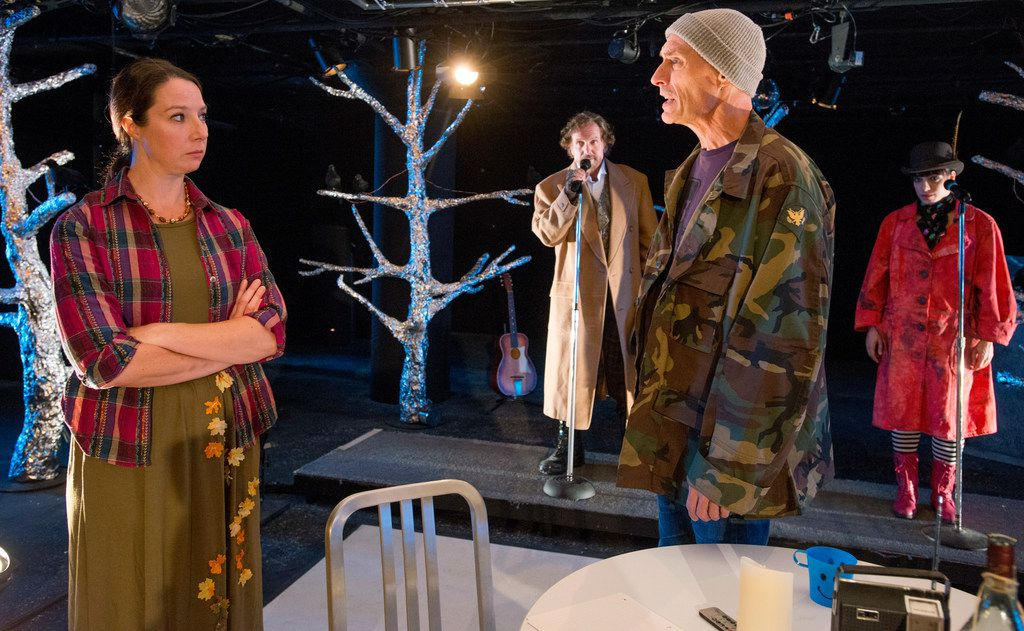 From left: Shannon Kearns, Bruce DuBose, Jim Jorgensen and Danielle Georgiou in the world premiere of Len Jenkin's How Is It That We Live or Shakey Jake + Alice at Undermain Theatre.