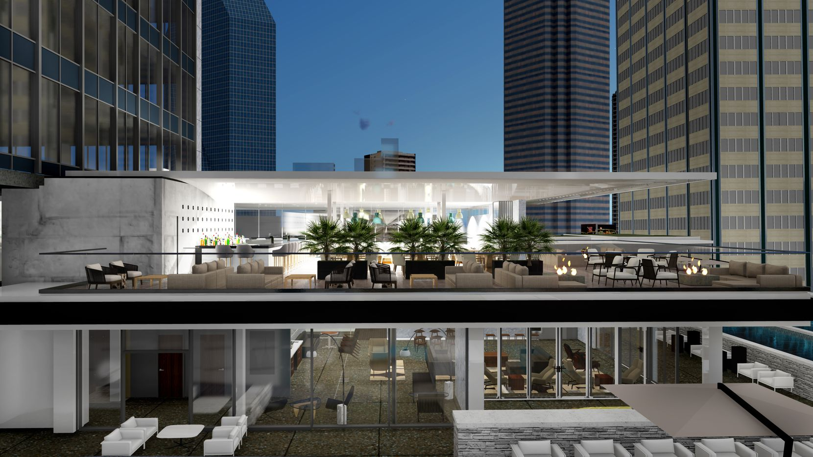 A restaurant and function space, shown in an artist's rendering, are planned for the 10th floor of The Drever, the building that was formerly the First National Bank building. Rendering also shows the 9th floor.
