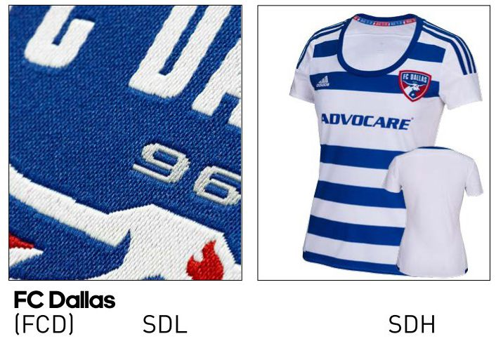 2016 FC Dallas Women's jersey from the adidas catalog.