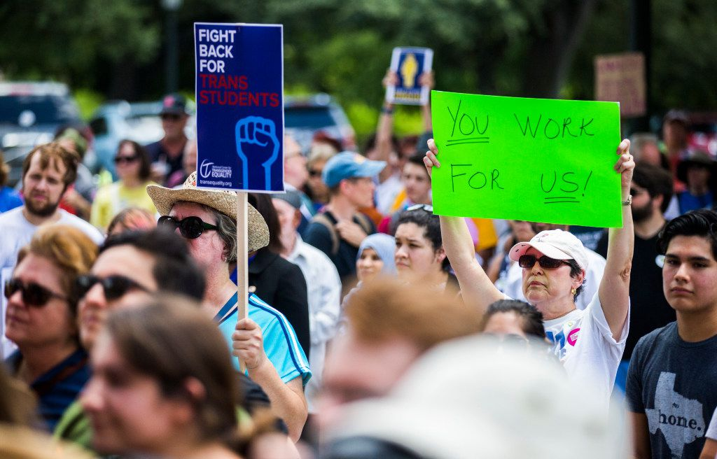 Protesters from One Texas Resistance rally on the south steps of the capitol on the first day of a legislative special session on Tuesday, July 18, 2017 at the Texas state capitol in Austin, Texas. (Ashley Landis/The Dallas Morning News)
