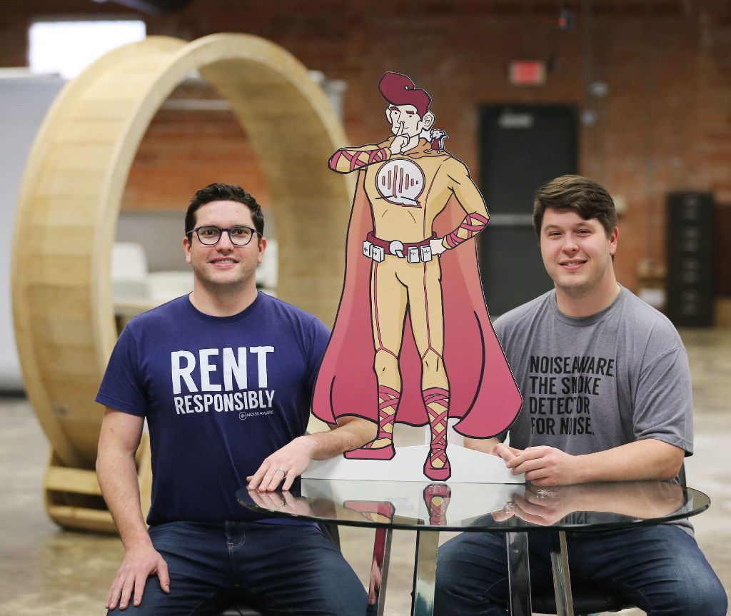Dave Krauss (left) and Andrew Schulz, the co-founders of NoiseAware, helped to create a device to provide noise protection for short term and vacation rental properties.