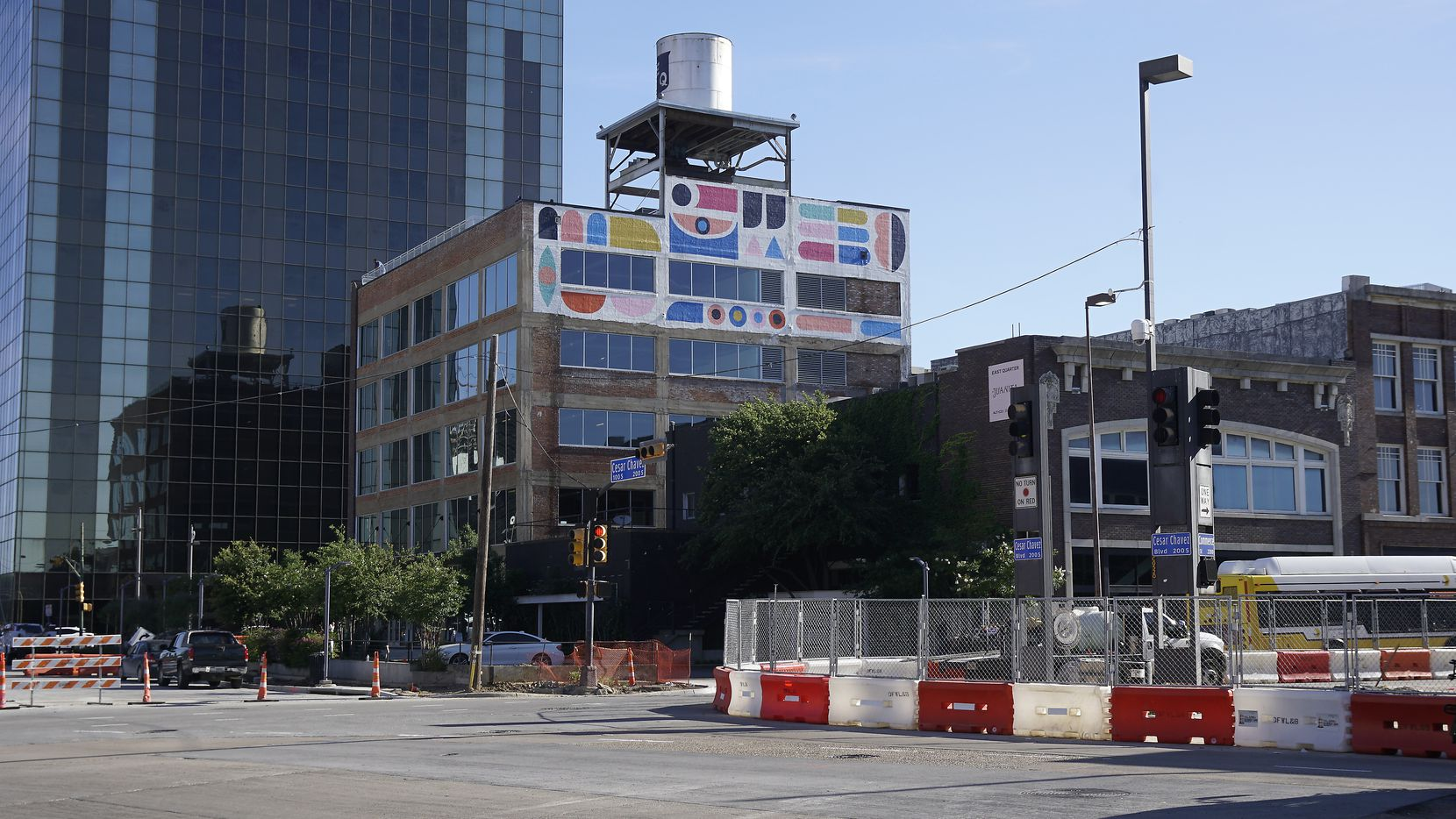 Artist Kyle Steed's art graces the back of a building being renovated at 2200 Main St. in downtown Dallas.