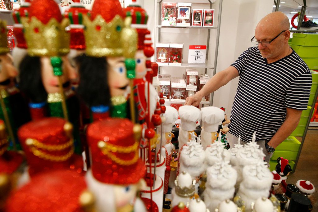 Jim Besta looks at nutcrackers in the holiday section of J.C. Penney at Collin Creek Mall in Plano.