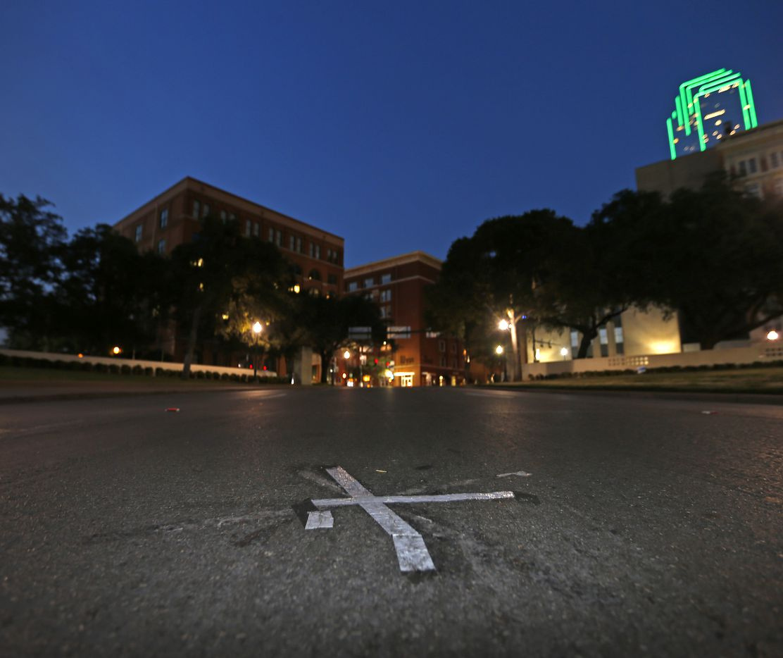 "The ""X"" mark on Elm Street marks the spot where President Kennedy was shot."