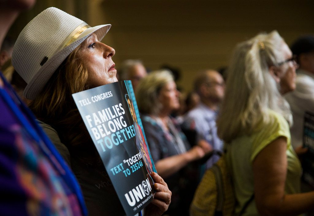Tammy Nelms listens to a speaker during a Families First Rally at the Texas Democratic Convention on Saturday, June 23, 2018 at the Fort Worth Convention Center in Fort Worth.