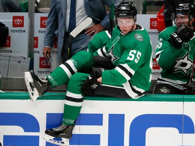 Dallas Stars defenseman Thomas Harley (55) comes onto the ice in the third period of a preseason NHL hockey game against the St. Louis Blues in Dallas, Monday, Sept. 16, 2019. (AP Photo/Tony Gutierrez)