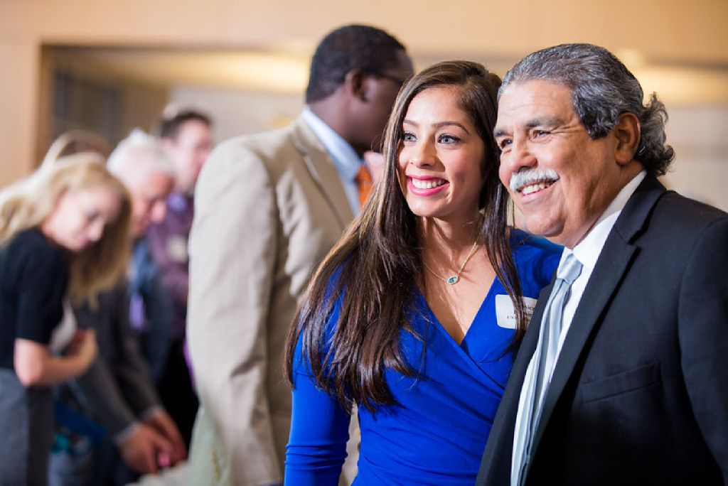 Jessica Ramirez, a second-grade teacher at Kiest Elementary in Dallas ISD and a current graduate student at the University of North Texas at Dallas, stands with Michael Hinojosa, superintendent of the Dallas Independent School District.