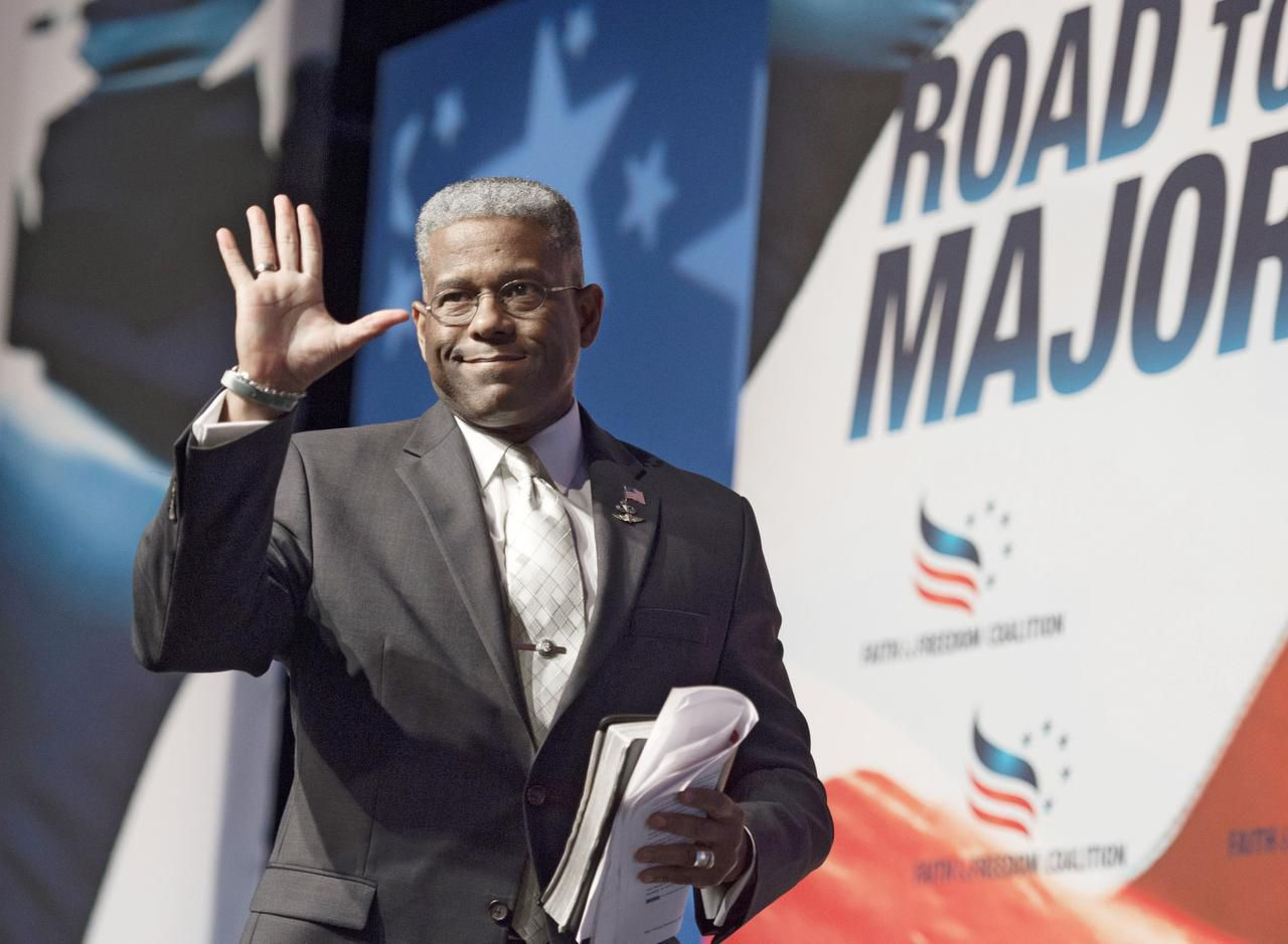 Former Florida congressman Allen West, seen at a Faith and Freedom Coalition event in June, says the only running he does these days is for his health.