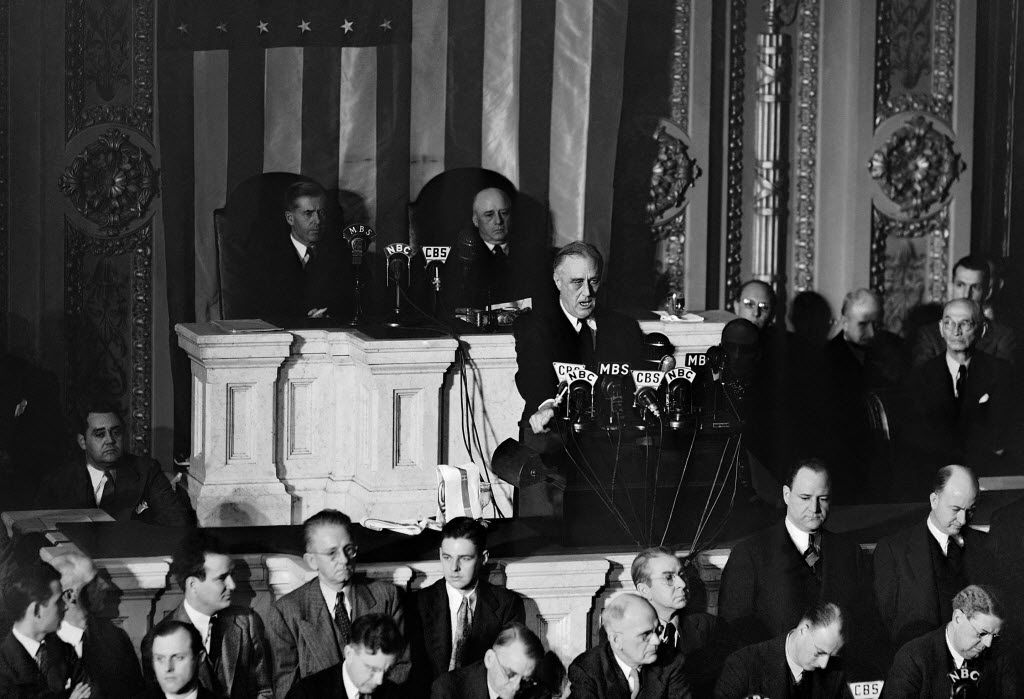 In this Dec. 8, 1941 file photo, President Franklin Roosevelt speaks to a joint session of Congress in Washington after the Japanese attack on Pearl Harbor, Hawaii. (AP Photo)
