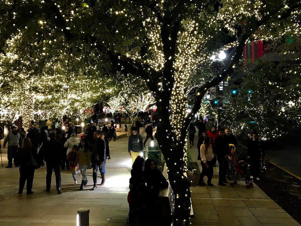 Border residents enjoy holiday festivities at a restored San Jacinto Plaza.