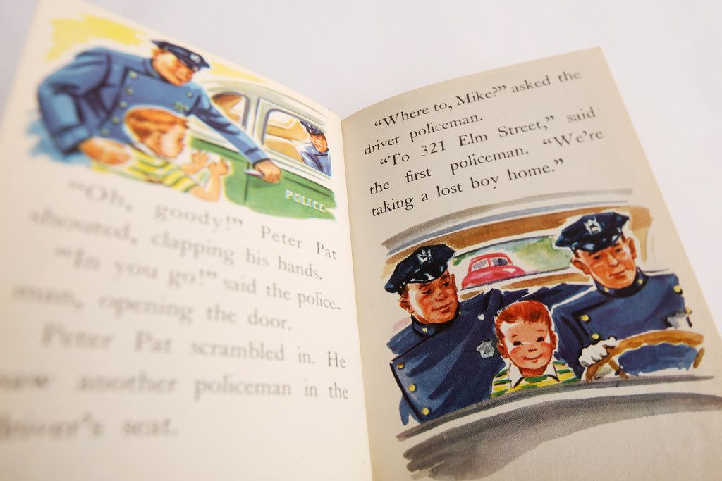 Vicki Timpa would read Peter Pat and the Policeman to her son Tony Timpa when he was a child. In it, a little redheaded boy asks the police for help after he gets lost far from home.