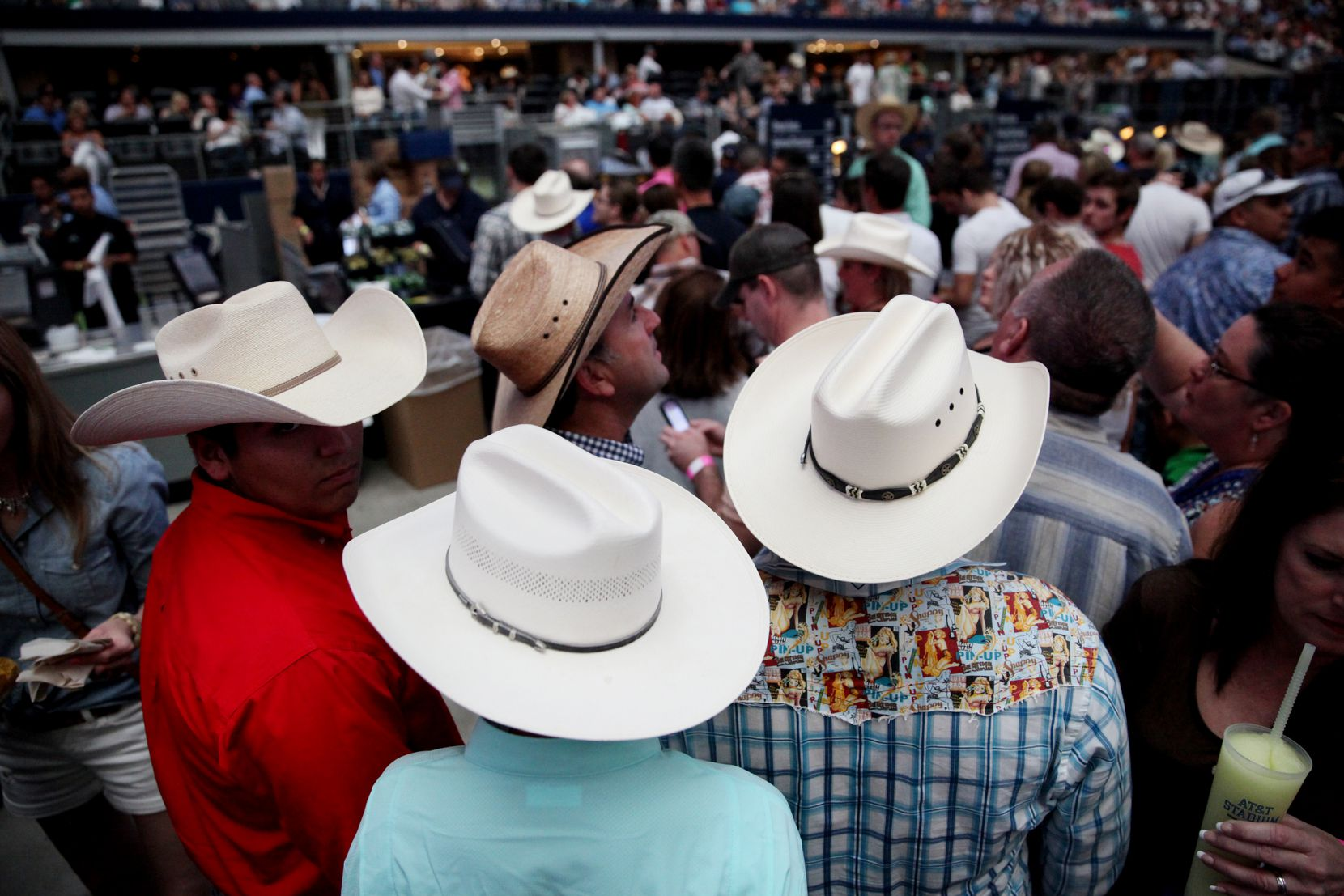 George Strait fans find their seats before Strait plays the last show of his final tour at AT&T Stadium in Arlington, Texas on June 7, 2014. (Andy Jacobsohn/The Dallas Morning News)