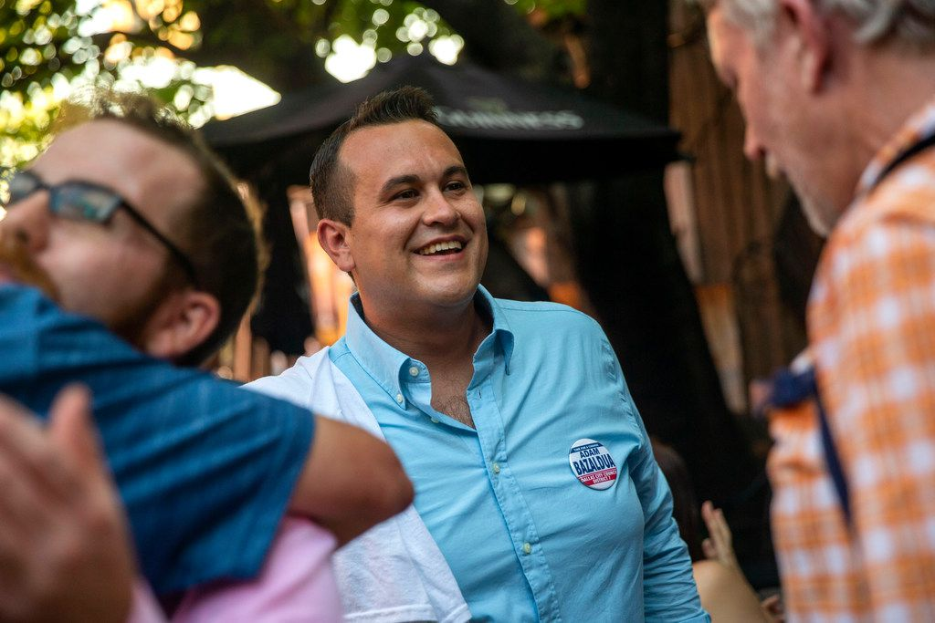 Adam Bazalduaspeaks with supporters at his election-night watch party at Eight Bells Alehouse in Dallas on June 8, 2019. (Lynda M. Gonzalez/The Dallas Morning News)