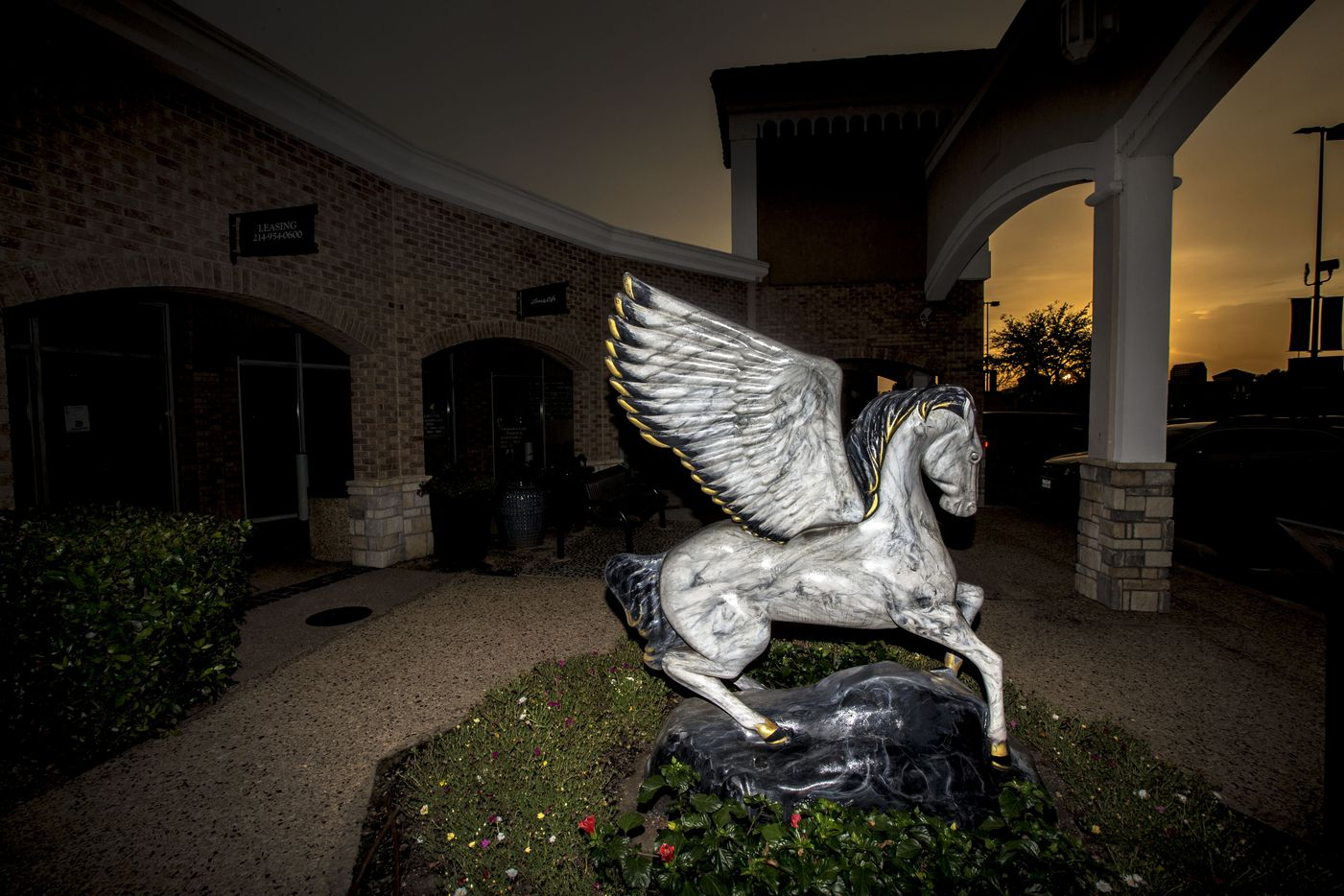 The 'Classicus' pegasus statue at the Preston Valley Shopping Center in Dallas on July 11, 2018. Artist Hank Black painted 58 popular Dallas images into the marble.