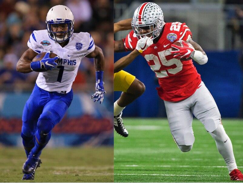 Tony Pollard de Memphis y Mike Weber de Ohio State.(AP)
