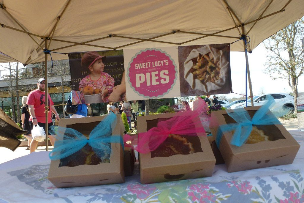 Sweet Lucy's Pies is another tent at Clearfork Farmers Market in Fort Worth. The little girl really is Lucy, and her mom, Lindsey Lawling, is the owner and baker.