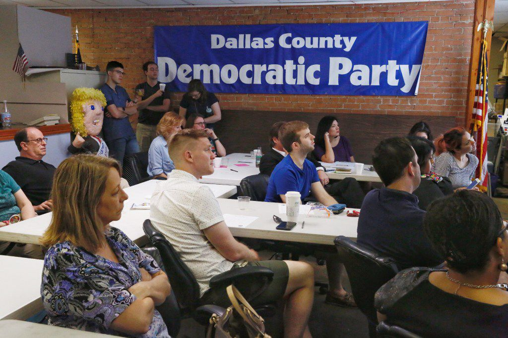 It was standing room only as Dallas Democrats watch  former FBI director James Comey testify at the James Comey Testimony Watch Party at the Dallas County Democratic Party Headquarters Thursday morning June 8, 2017.