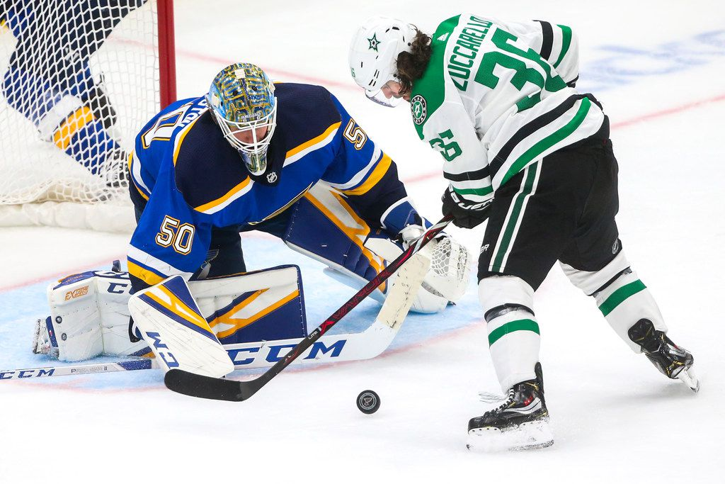 Dallas Stars center Mats Zuccarello (36) attempts a shot on St. Louis Blues goaltender Jordan Binnington (50) during game 1 of an NHL second-round playoff series at Enterprise Center in St. Louis Missouri on Thursday, April 25, 2019. (Shaban Athuman/Staff Photographer)