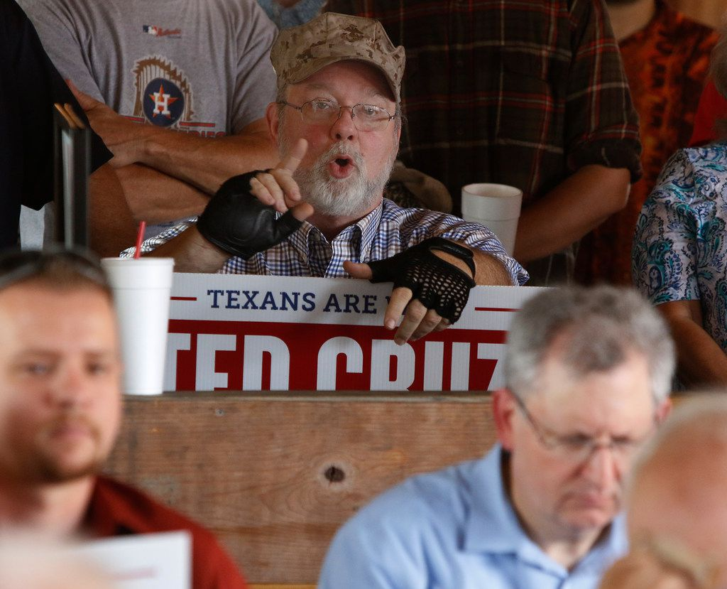 USMC Vietnam war veteran Dennis Stevens, of Humble, ask Sen. Ted Cruz a question about the VA hospitals during a retail stop at Tin Roof BBQ in Humble Texas, on Saturday, September 8, 2018. Ted Cruz campaigned in Humble, Texas,