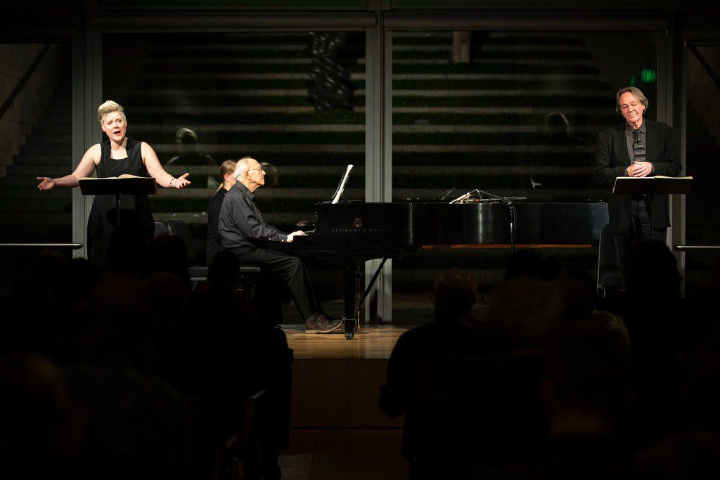 """Soprano Tony Arnold, pianist Gilbert Kalish and baritone William Sharp perform Some Favored Nook by Eric Nathan during a """"Soundings: New Music at the Nasher"""" series concert at the Nasher Sculpture Center on Jan. 4, 2019, in Dallas."""