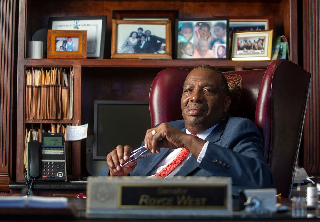 U.S. Senate candidate and current state Sen. Royce West, D-Dallas, poses for a photograph in his office at West & Associates, L.L.P. in Dallas on July 18, 2019.