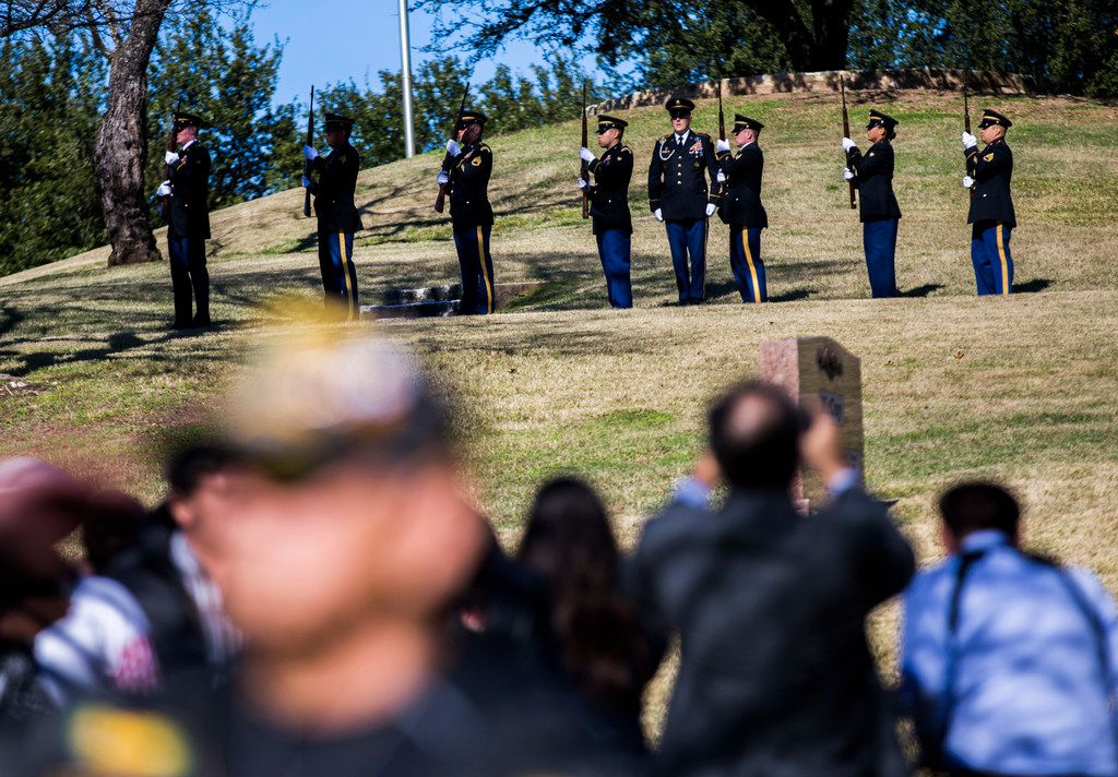 A 21-gun salute pays tribute to Richard Overton during a graveside service on Saturday, January 12, 2019 in Austin. Overton was the oldest living WWII veteran, and oldest living man in the U.S. at 112-years-old until he died on December 27, 2018. He was known for drinking whiskey and smoking cigars on his front porch in east Austin. (Ashley Landis/The Dallas Morning News)