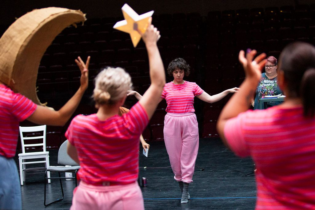 """Marti Etheridge (facing, center) and director Lori Honeycutt (at right) during a rehearsal for  a production """"Just Girly Things"""" by the Danielle Georgiou Dance Group at Eastfield College on July 5, 2018, in Mesquite. (Smiley N. Pool/The Dallas Morning News)"""