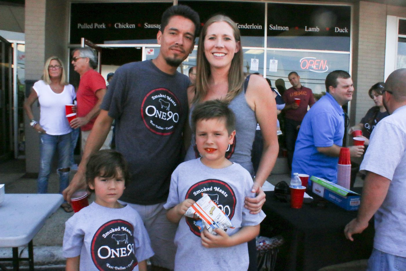 One90 Smoked Meats had its grand opening in East Dallas on October 4, 2015. Owner Herman Guerra with his family.