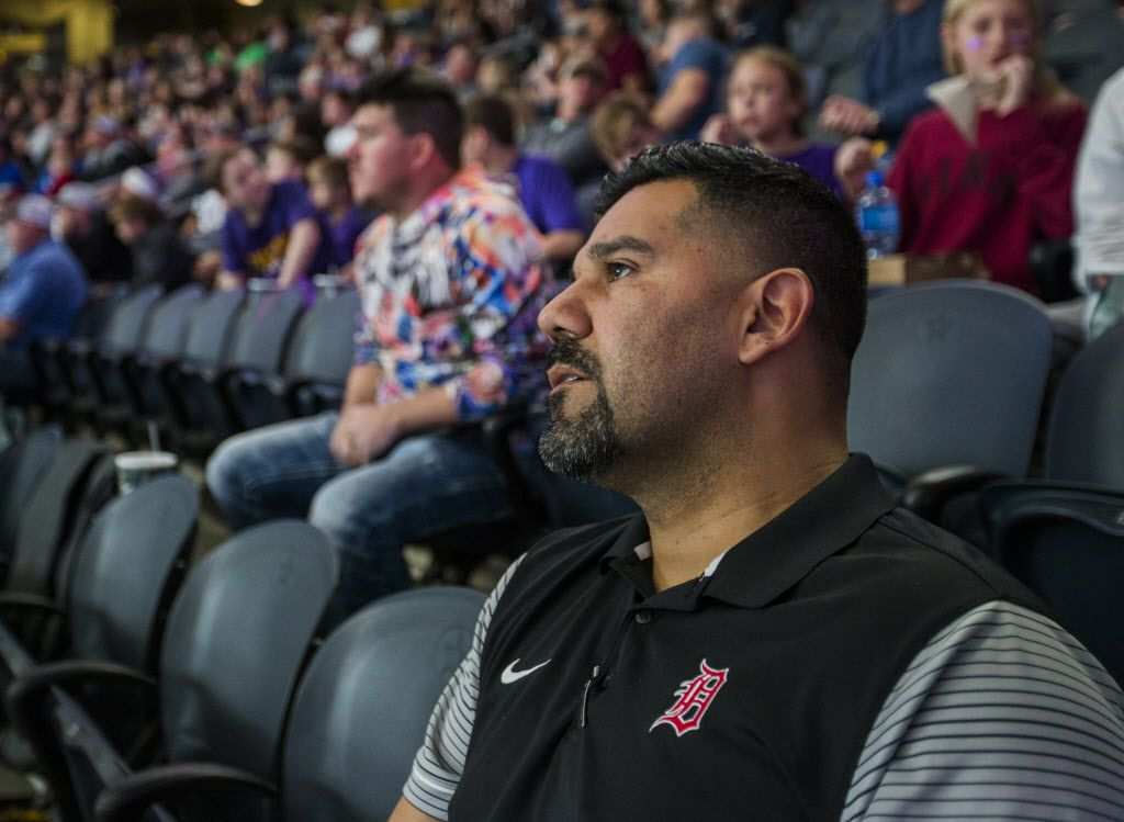 Fort Worth Diamond-Hill Jarvis High School head football coach Oscar Castillo watches the UIL 4A Division I state championship game between Waco La Vega and Liberty Hill on Friday, December 21, 2018 at AT&T Stadium in Arlington. Jarvis has had one of the worst seasons in the state and Castillo's goal is to turn the program around and make it to the state championships. (Ashley Landis/The Dallas Morning News)