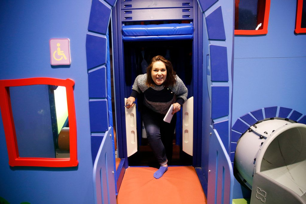 Caught in the act: Reporter Sarah Blaskovich had to check whether Peppa Pig World of Play was accessible for adults — those willing to climb, slide and stoop down a little. It is.